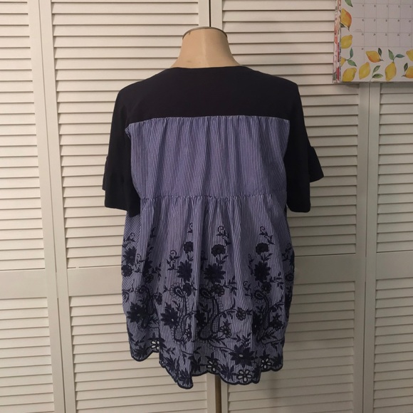 Fever Tops - NWOT Fever Mixed Media Blouse